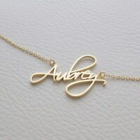 Personalized Sterling Silver Gold Any Name Plate Script Chain Necklace w/ Crown