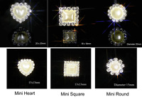 10 GRADE A DIAMANTE & PEARL HEART / SQUARE OR ROUND CRYSTAL EMBELLISHMENTS