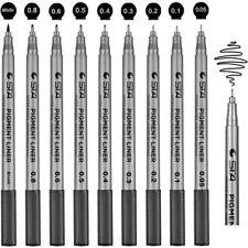 Fineliner Ink Micro Pens Waterproof 9 Black Pen Set for Art Sketching Writing