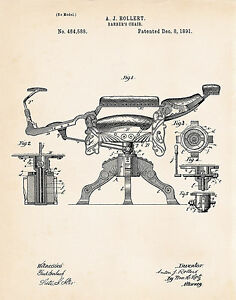 1891 Barber Poster Vintage Chair Gift For Hairdresser Barber's Shop Patent Print