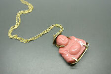 Vintage Antique Chinese Export Buddha red plastic filigree pendant necklace
