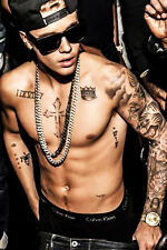 Justin Bieber New Tattoo Shirtless 13x19 print photo SILK POSTER