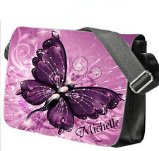 Personalised School / College / Large Laptop Bag Add a Name Purple Butterfly