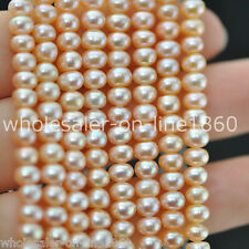 "7-8mm Pink Freshwater Cultured Pearl Roundel Shape Gemstone Loose Beads 15"" AAA"