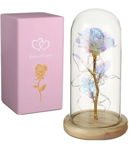 Crystal Rose Flower in Glass Dome with Lighting String - Beauty and The Beast