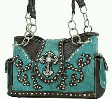 New Western Handbag Rhinestones studded bling turquoise concealed weapon purse