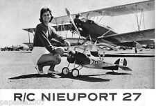 "Model Airplane Plans (RC): NIEUPORT 27 1/5 Scale 64"" Biplane for .35-.45 Engine"