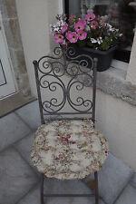 """Galette de Chaise"""" ROSES ANCIENNES """" matelassée D 40 cm  Volantée & Réversible.."""