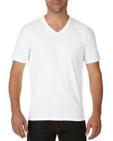 WHITE MENS PREMIUM V NECK T-SHIRT - Gildan 100% Cotton Plain T SHIRT