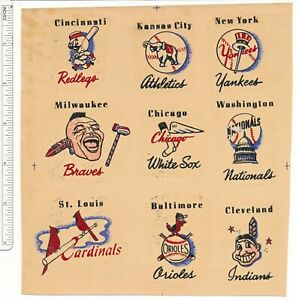Major League Baseball Water-Slide Decals 1950's