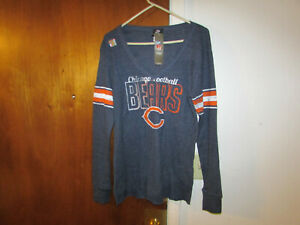 NFL Team Apparel Chicago Bears Womens Blue Long Sleeve Thermal Shirt Size 2 XL