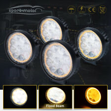 4X Amber Halo Round LED Work Light 4inch Offroad Fog Driving SUV ATV Tractor 4WD