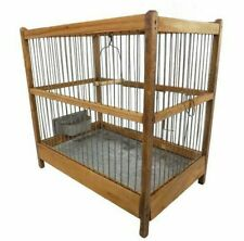 Antique Vintage French Wooden Bird Cage Birdcage wuith Zinc Tray & Zinc Feeder
