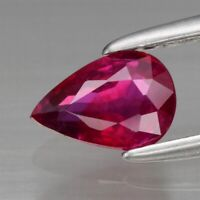 0.59ct 6x4mm Pear Natural Unheated Top Red Ruby, Mozambique