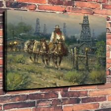 Home Deco Art Quality Canvas Print, Oil Painting western, cowboy oil tower,16x20