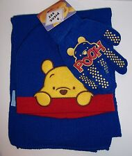 Disney WINNIE THE POOH Blue & Red Knit HAT BEANIE Cap SCARF GLOVES Glove SET NEW