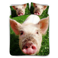 Pig Cute Bedding Set Ugly Coverlet Funny Comforter Soft Kids Quilt Cover Queen