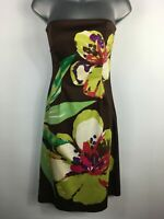 WOMENS COAST BROWN GREEN LARGE FLORAL PRINT STRAPLESS FITTED A-LINE DRESS UK 8