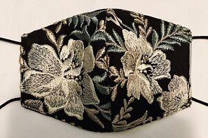 Metallic Shine Lace Face Mask Rhinestones Cotton Comfortable Bling Nose Wire Adj