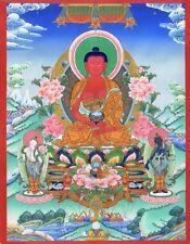 "Thangka Amitabha ""Best calidad de impresión"" Buda nepal Lotus familia suerte t04"