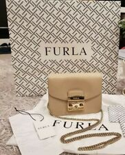 Authentic Furla Metropolis Mini Crossbody Bag Beige