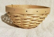 Longaberger WOVEN Little Buddy Bowl in Light Warm Brown Natural w/ protector NEW