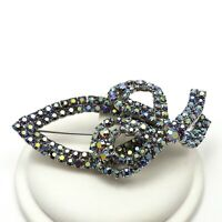 Vintage Silver Tone Rainbow Color Rhinestone Large Bow Brooch Pin