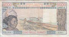 Was-Cote D'Ivoire banknote P108Aq-5897 5,000 Francs 1990  Alph.J.011, F-VF