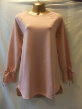 LADIES NWT George 10 PEACH STRETCH/TIES+GATHERS LONG SLEEVED/LONGER TUNIC-TOP