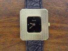 Vintage 18k gold PIAGET PROTOCOLE watch w/ ORIGINAL LEATHER BAND 301716 99042