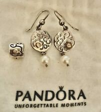 VHTF RETIRED PANDORA 14K SS LIFES PATH DIAMOND PEARL CHARM  & EARRINGS