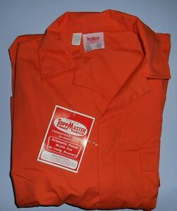 Vintage Toppmaster Orange Long Sleeve Coveralls Jumpsuit Large New Old Stock
