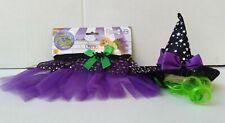 New Witch Hat TuTu Skirt Puppy Dog Pet Costume Size S/M Purple & Black Halloween