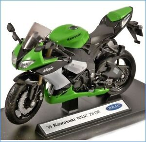 Welly - '09 KAWASAKI NINJA ZX-10R / GREEN Motorbike Toy Model Scale 1:18 + Stand