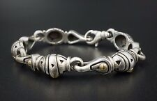 "Designer John Atencio 18k Yellow Gold Sterling Silver Bracelet 7.25"" BS1185"