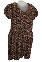 Vintage Erika Dress Medium Floral Print Short Sleeve  Buttons Pintuck Tie Back