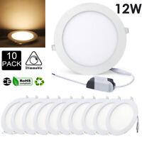 10pcs 12W LED Panel Leuchte Dimmbar Deckenlampe Einbaustrahler Rund Neutralweiß