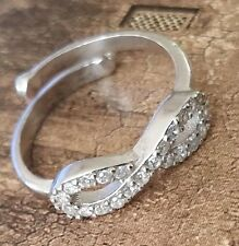 18k White Gold / 925 Sterling Silver Topaz Infinity Love wrap 7 Adj Ring Band