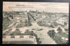 1924 Montevideo Uruguay Rppc Postcard cover To New York Usa Independence Square