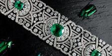 Solid 925 Sterling Silver Green Cushion Art Deco Bracelet Jewelry Cz Women Gift*