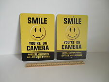 2 Smile You're On Camera Video Surveillance Security Metal Yard Signs - # 722