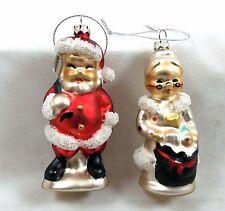 Mr and Mrs Santa Claus Glass Ornaments Retro Christmas Decor New Set of 2