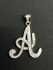 """Letter Initial """"A"""" Pendant Necklace 925 Sterling Silver CZ"""