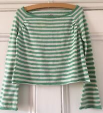 Fat Face Girls' Green Striped Cotton Knit Long-Sleeved Cropped Top 10-11 Years