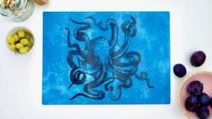 Steampunk Kraken Octopus 40cm x 30cm Glass Chopping Board Worktop Saver