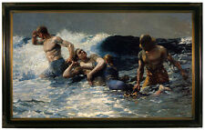 Winslow Homer Undertow -Brown Gallery Framed Canvas Print Repro 23x36