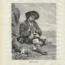 Stampa antica RAGAZZO CIOCIARO pastore con zufolo Frosinone 1877 Antique print
