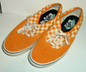 Vans ComfyCush Ol School Orange Marigold White Checkered Suede Men 11 M