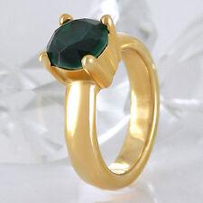 Handgefertigt Echte Edelstein-Ringe aus Gelbgold mit Smaragd