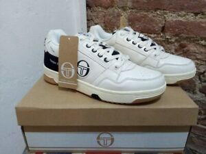 SERGIO TACCHINI PC84 100% LEATHER SNEAKERS CREAM/BLACK/RED, NEW! CASUAL
